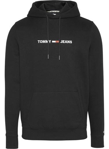 Tommy Hilfiger Erkek Tjm Straight Logo Hoodi Sweatshirt DM0DM08474 Siyah